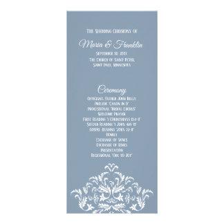 Dusty Blue Elegant Damask Program Rack Card