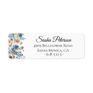 Dusty Blue Floral Arrangement Return Address Label