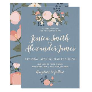 Dusty Blue Floral Wedding Invitation Blush Pink