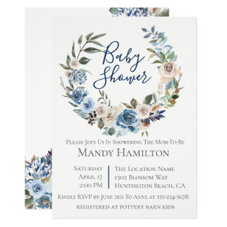 Dusty Blue Floral Wreath Baby Shower Invitation