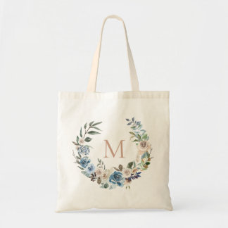 Dusty Blue Floral Wreath Monogram Tote Bag