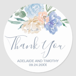 Dusty Blue Florals Thank You Favor Classic Round Sticker