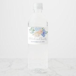 Dusty Blue Florals Wedding Water Bottle Label