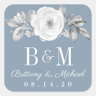 Dusty Blue Gray Floral Diamond Wedding Stickers