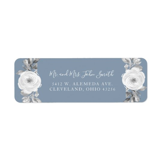 Dusty Blue Grey Floral Diamond Wedding Labels