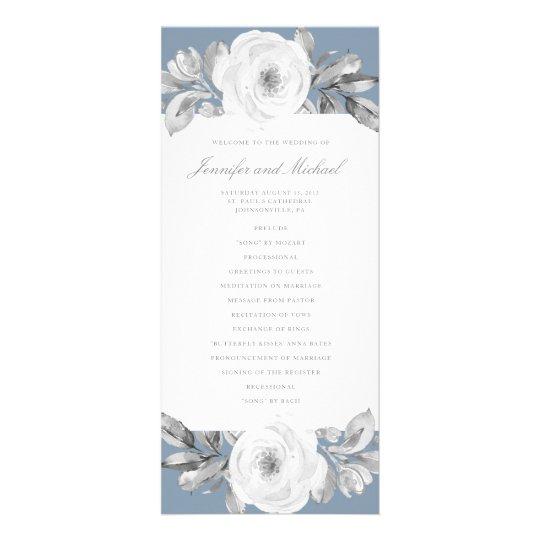 Dusty Blue Grey Floral Diamond Wedding Program Rack Card