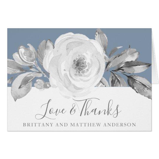 Dusty Blue Grey Floral Diamond Wedding Thank You Card