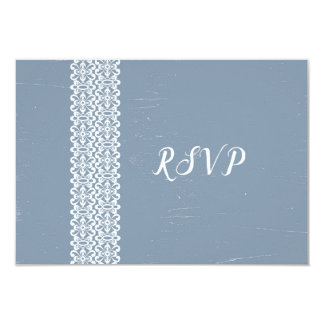 Dusty Blue + Lace wedding RSVP reply card