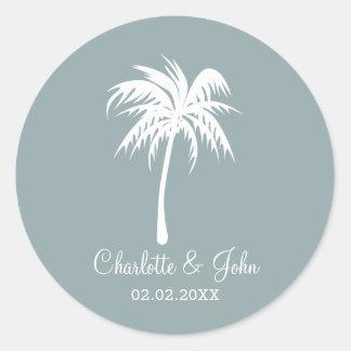 Dusty Blue  Palm Tree Wedding stickers