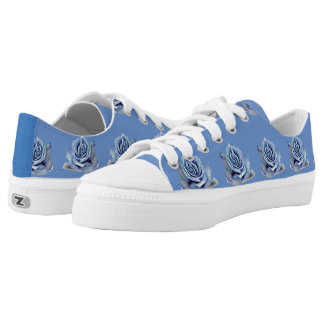 Dusty Blue Rose Low Top Shoes Printed Shoes
