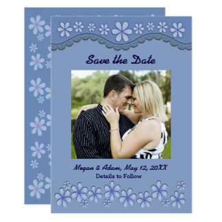 Dusty Blue Six Petal Flower Save the Date Card 13 Cm X 18 Cm Invitation Card