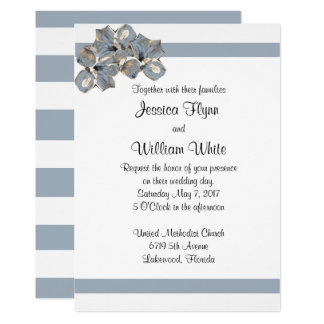 Dusty Blue Stripe and Floral Wedding Invite