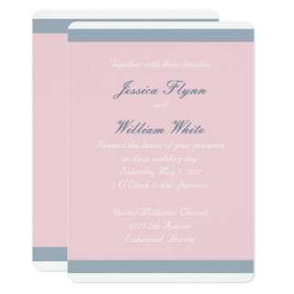 Dusty Blue Stripe Wedding Invitation