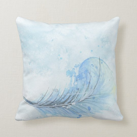Dusty blue watercolor painted feather cushion