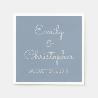 Dusty Blue Wedding or Reception Simple Napkins Paper Napkin