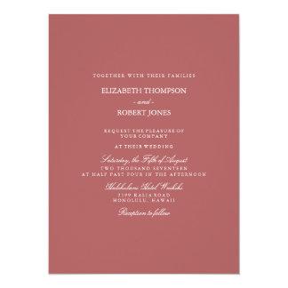Dusty Cedar Brown with White Wedding Detail 14 Cm X 19 Cm Invitation Card