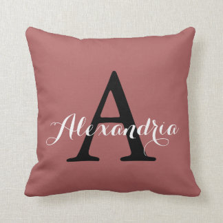 Dusty Cedar Warm Rose Pink Solid Color Monogram Cushion