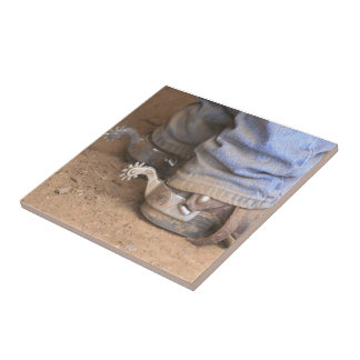 Dusty Cowboy Boots And Spurs Tile