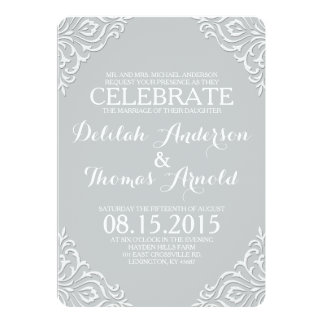 Dusty Damask Filigree Elegant Wedding Invitation