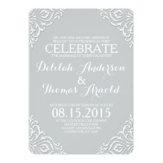 "Dusty Damask Filigree Elegant Wedding Invitation 5"" X 7"" Invitation Card"