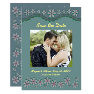 Dusty Green Six Petal Flower Save the Date Card 13 Cm X 18 Cm Invitation Card