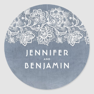 Dusty Light Blue and White Lace Vintage Wedding Classic Round Sticker