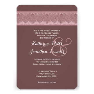 Dusty Pink and Brown Damask Wedding Template V32 Cards