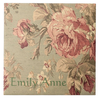 Dusty Pink and Sage Green Roses Personalized Tile