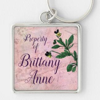 Dusty Pink Botanical Vintage Viola Key Ring