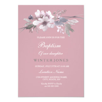 Dusty Pink Floral Watercolor Baptism Invitation