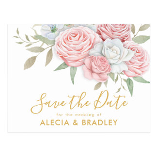 Dusty Pink Gold Floral Garden Save the Date Postcard