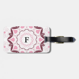 Dusty Pink Mandala Print Customisable Initial Bag Tag