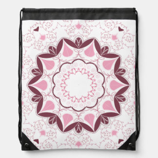 Dusty Pink Mandala Print Customisable Initial Drawstring Bag