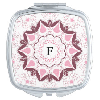 Dusty Pink Mandala Print Customisable Initial Vanity Mirror