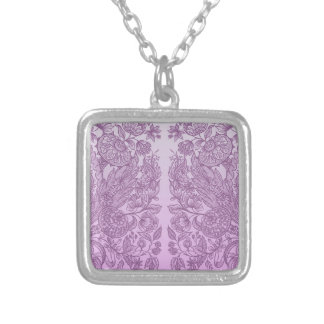 Dusty pink ornament silver plated necklace