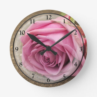 Dusty Pink Rose Round Clock