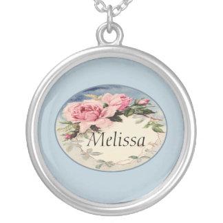 Dusty Pink Vintage Rose Leaf Wreath Monogram Round Pendant Necklace