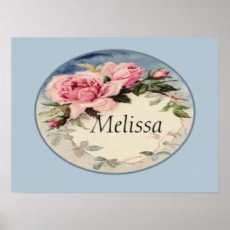 Dusty Pink Vintage Rose Leaf Wreath Monogram Print