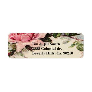 Dusty Pink Vintage Rose Leaf Wreath Monogram Return Address Label