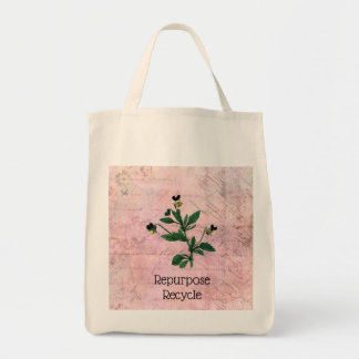 Dusty Pink Vintage Viola botanical Illustration Tote Bag