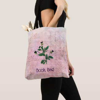 Dusty Pink Vintage Viola Botanical Tote Bag