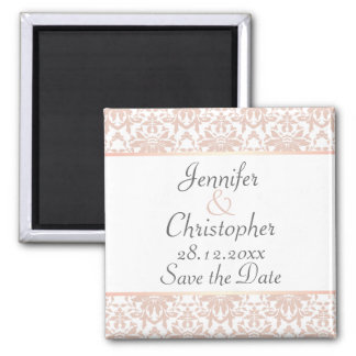 Dusty Pink & White Chandelier Damask Save the Date Square Magnet