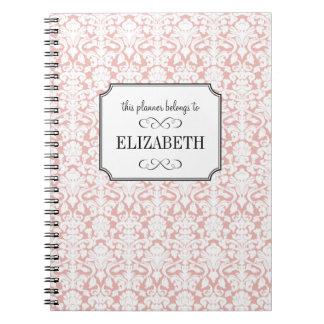 Dusty pink white damask wedding planner journal