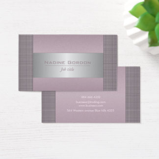 Dusty plum and silver grey business card