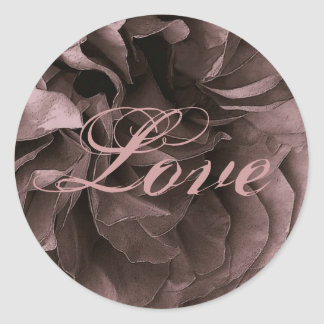 DUSTY PLUM Frilly Rose LOVE Wedding Envelope Seal Round Stickers