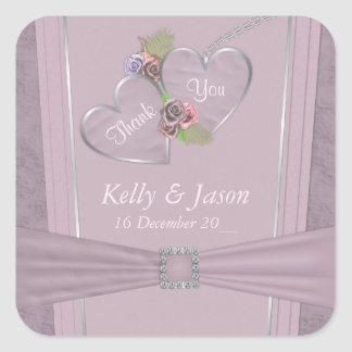 Dusty plum, pale purple and floral wedding square sticker