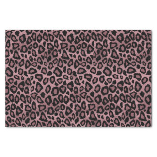 Dusty Rose and Black Leopard Animal Print Tissue Paper