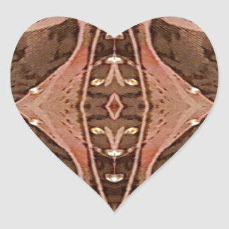 Dusty Rose And Brown Artistic Pattern. Heart Sticker