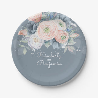 Dusty Rose and Pale Blue Floral Elegant Wedding Paper Plate