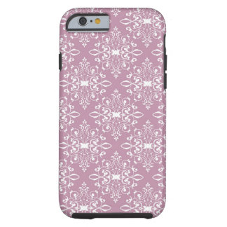 Dusty Rose and White Girly Damask Pattern Tough iPhone 6 Case